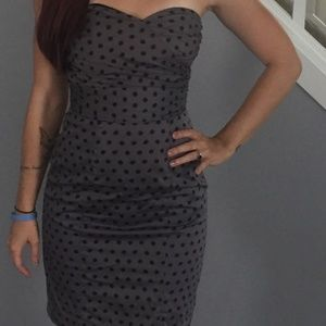 Gray Polka Dot Pencil Dress